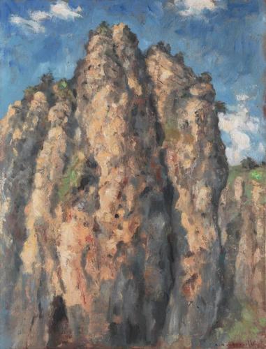 André Boubounelle le rocher de shiweiyan, soleil du soir 50x65