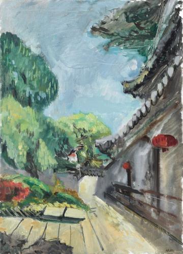 Rémy Aron Une cour dans l'île jiangxin 47x65cm