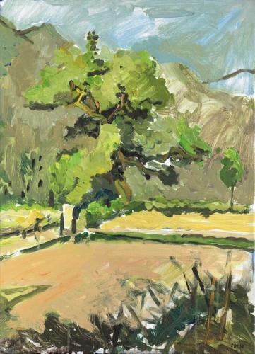Rémy Aron Un arbre dans la vallée 45x62cm