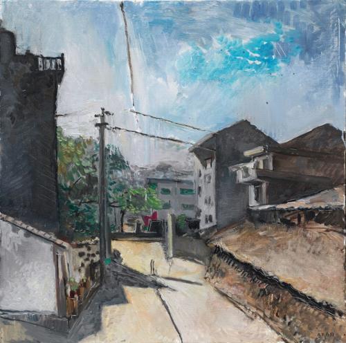 Rémy Aron Une vue du village shangrichuan 65x65cm