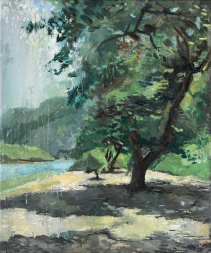 Rémy Aron Un arbre au bord de la rivière Ruoxi 41x49cm